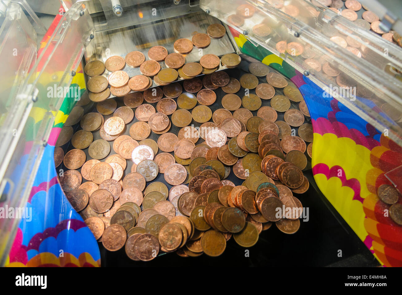 Tuppenny Nudger 2p Coin Slider Machine Stock Photo