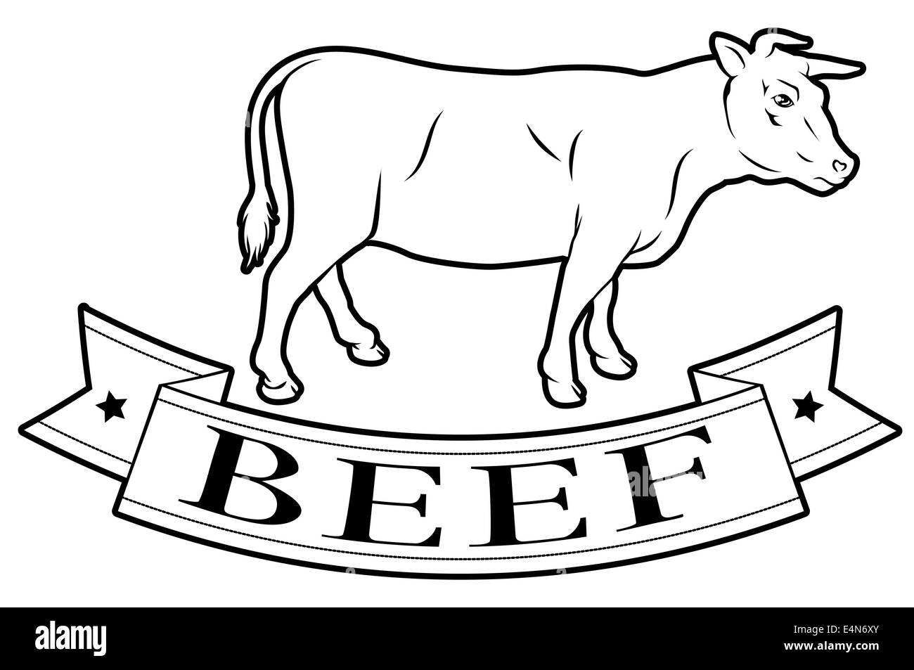 Beef meat food label of a cow and banner reading beef Stock Photo ... for Beef Clipart Black And White  75sfw