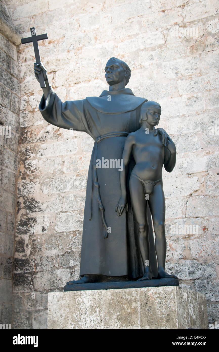 loincloth  boy Statue of priest and young boy in loincloth in front of Basílica Menor de San Francisco de Asís, Havana Vieja, Havana, Cuba