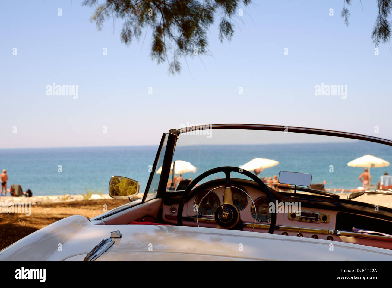 Classic Convertible Open Top White Alfa Romeo Sports Car   Parked At A  Beach   Mani