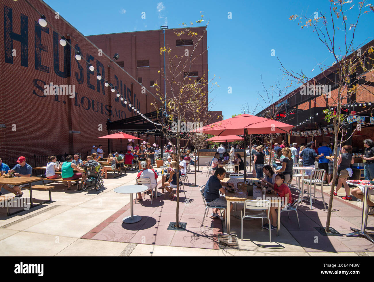 beer garden at the anheuser busch budweiser brewery st louis stock photo royalty free image