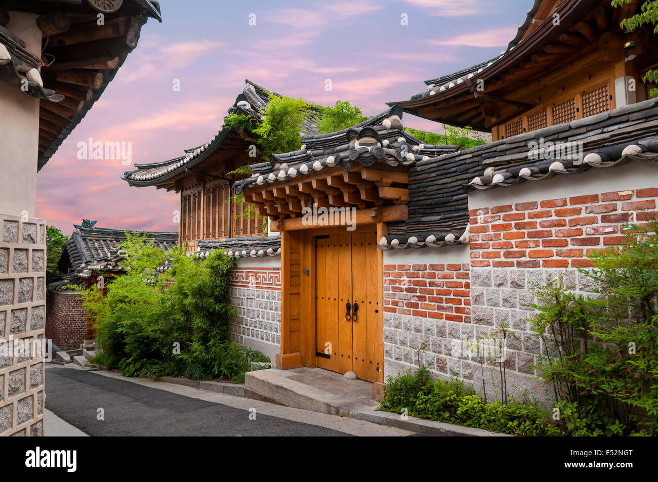 Traditional Korean Architecture In Bukchon Hanok Village Seoul South Korea