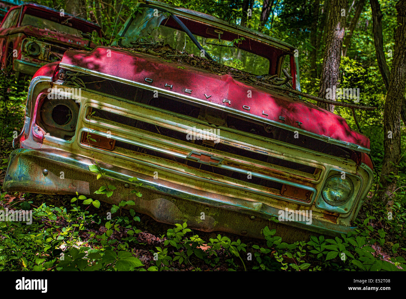 Rusted junk cars and trucks in Old Car City in White Georgia Stock ...