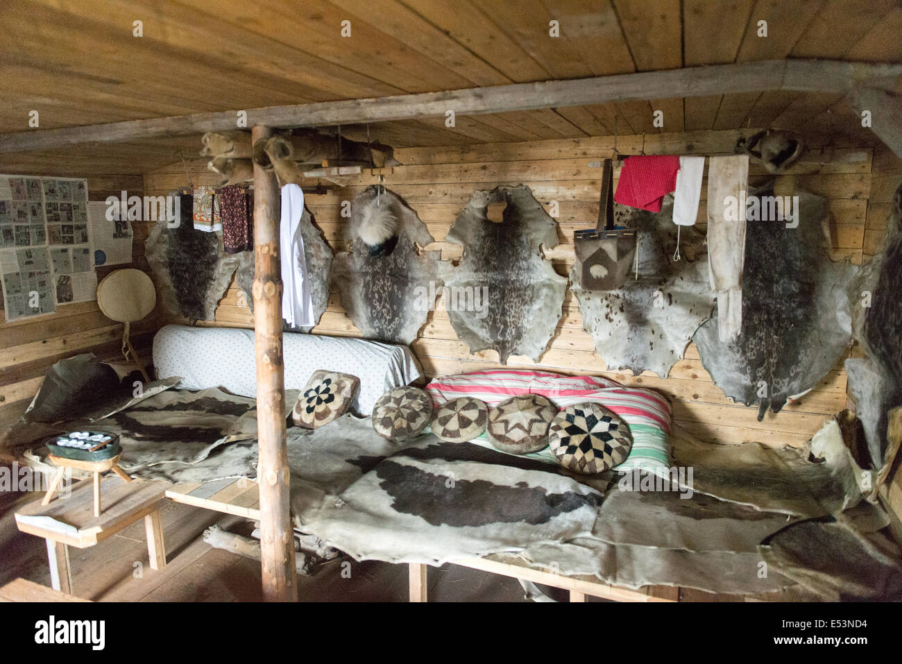 Inside a traditional inuit house as shown in the museum of ...