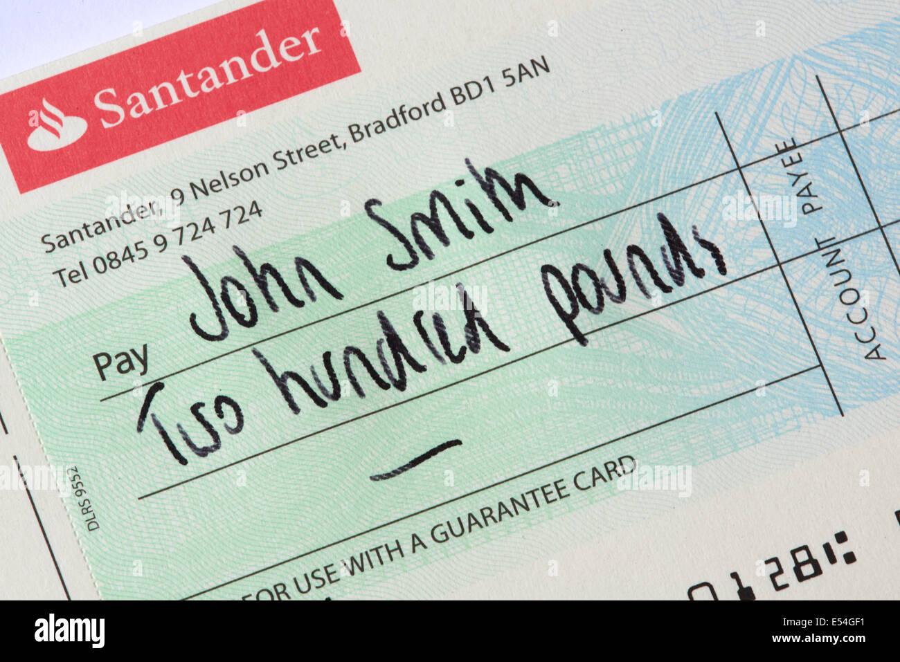 Close Bank Account Lloyds Tsb Santander Bank Cheque Payable To John Smith  Stock Image