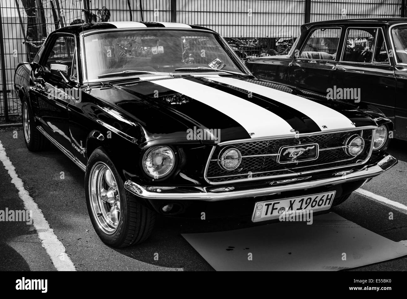 pony car ford mustang gt first generation black and white 27th stock photo royalty free. Black Bedroom Furniture Sets. Home Design Ideas