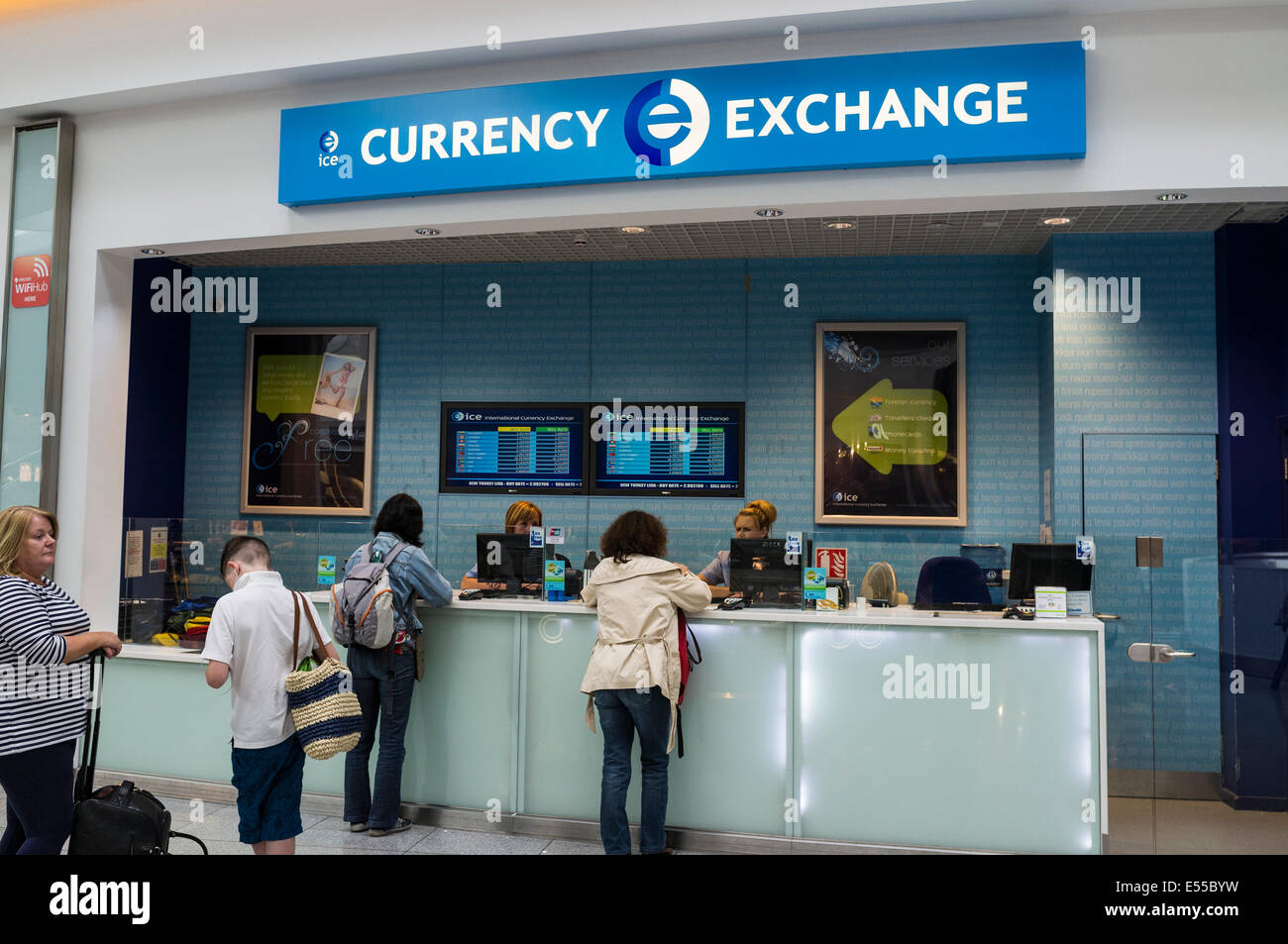 international currency exchange counter at terminal 2 in dublin stock photo 72033917 alamy. Black Bedroom Furniture Sets. Home Design Ideas