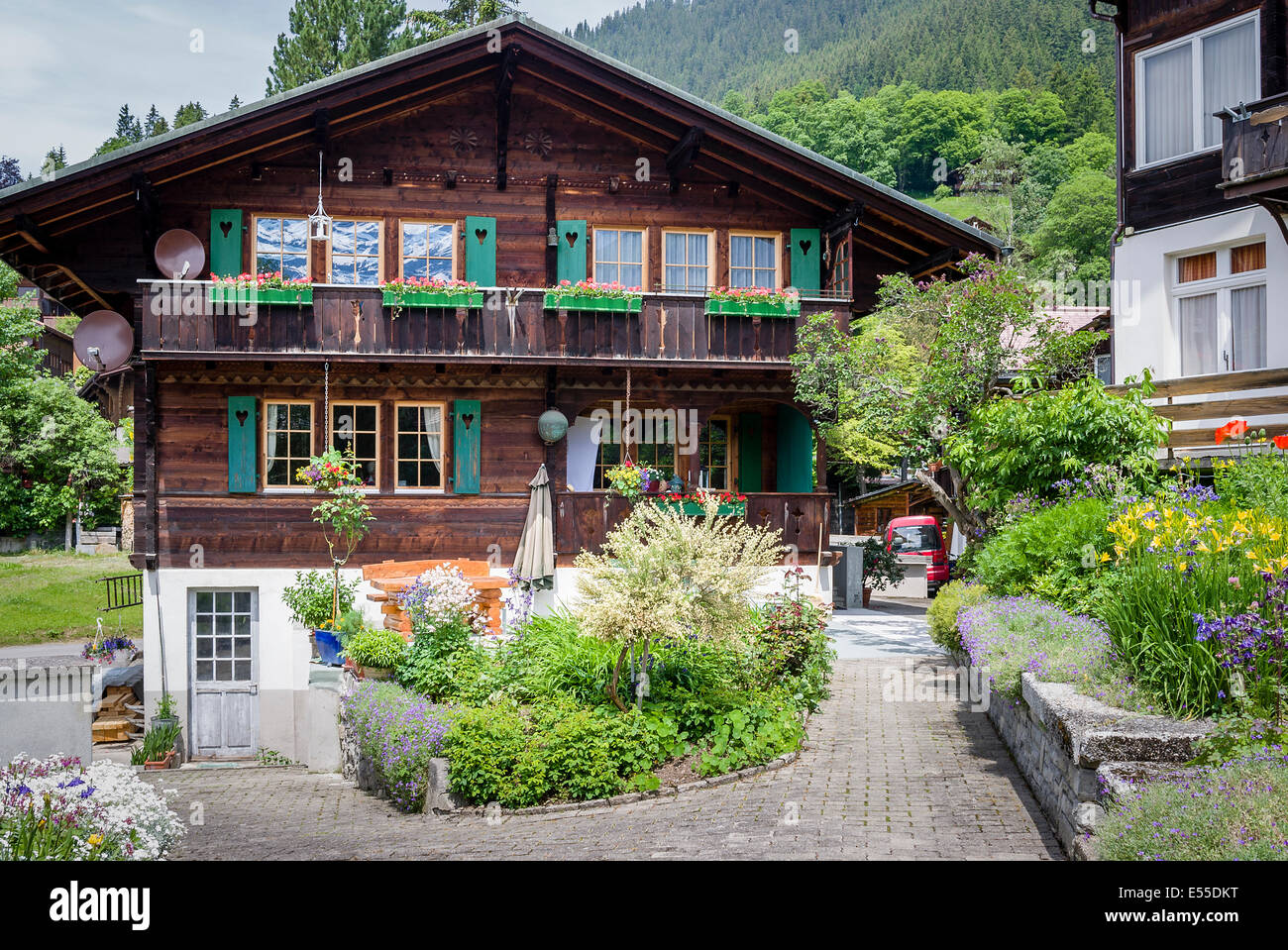 Wooden Chalet Typical Of Swiss Architecture In Wengen