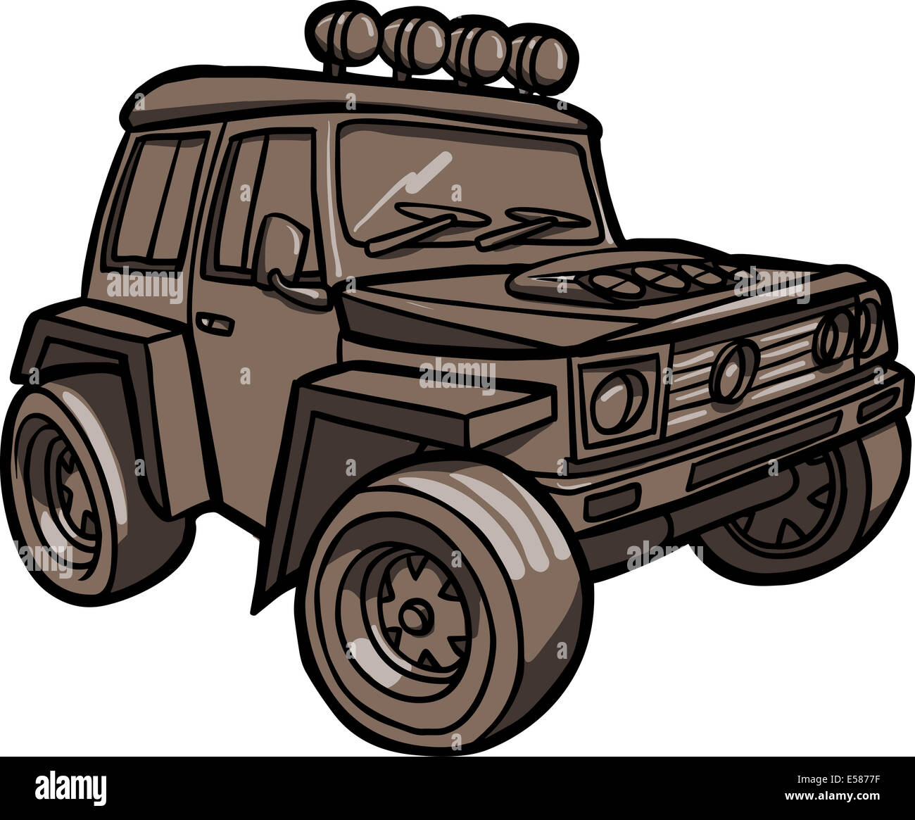 illustration of a cartoon off road vehicle isolated stock photo