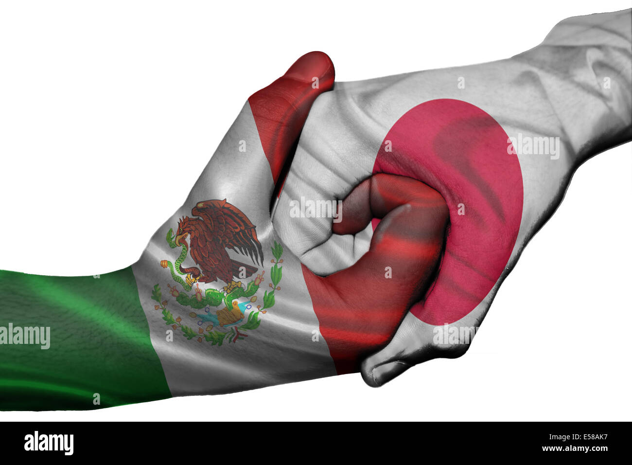 diplomatic handshake between countries flags of mexico and japan