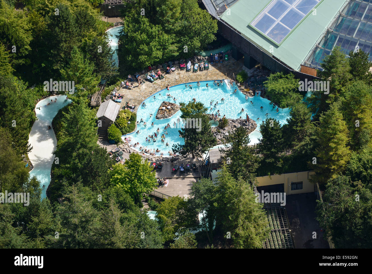 A Close Up Aerial View Of An Outdoors Swimming Pool At Centre Parcs Stock Photo Royalty Free
