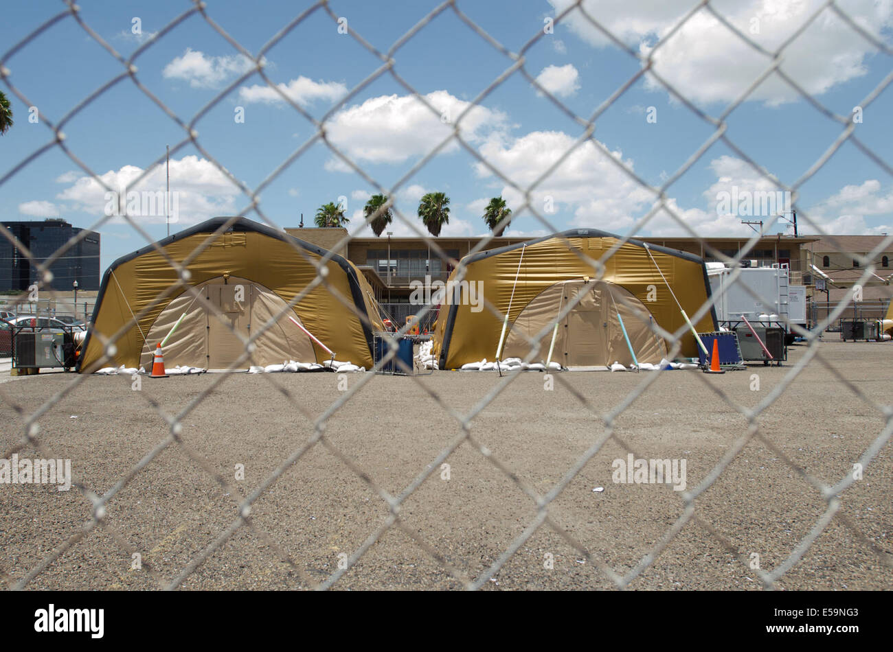 Air inflated tents at the McAllen Texas Sacred Church gives immigrants a place to rest between their legal processing and traveling to meet family in the ... & McAllen Texas USA. 14th July 2014. Air inflated tents at the ...