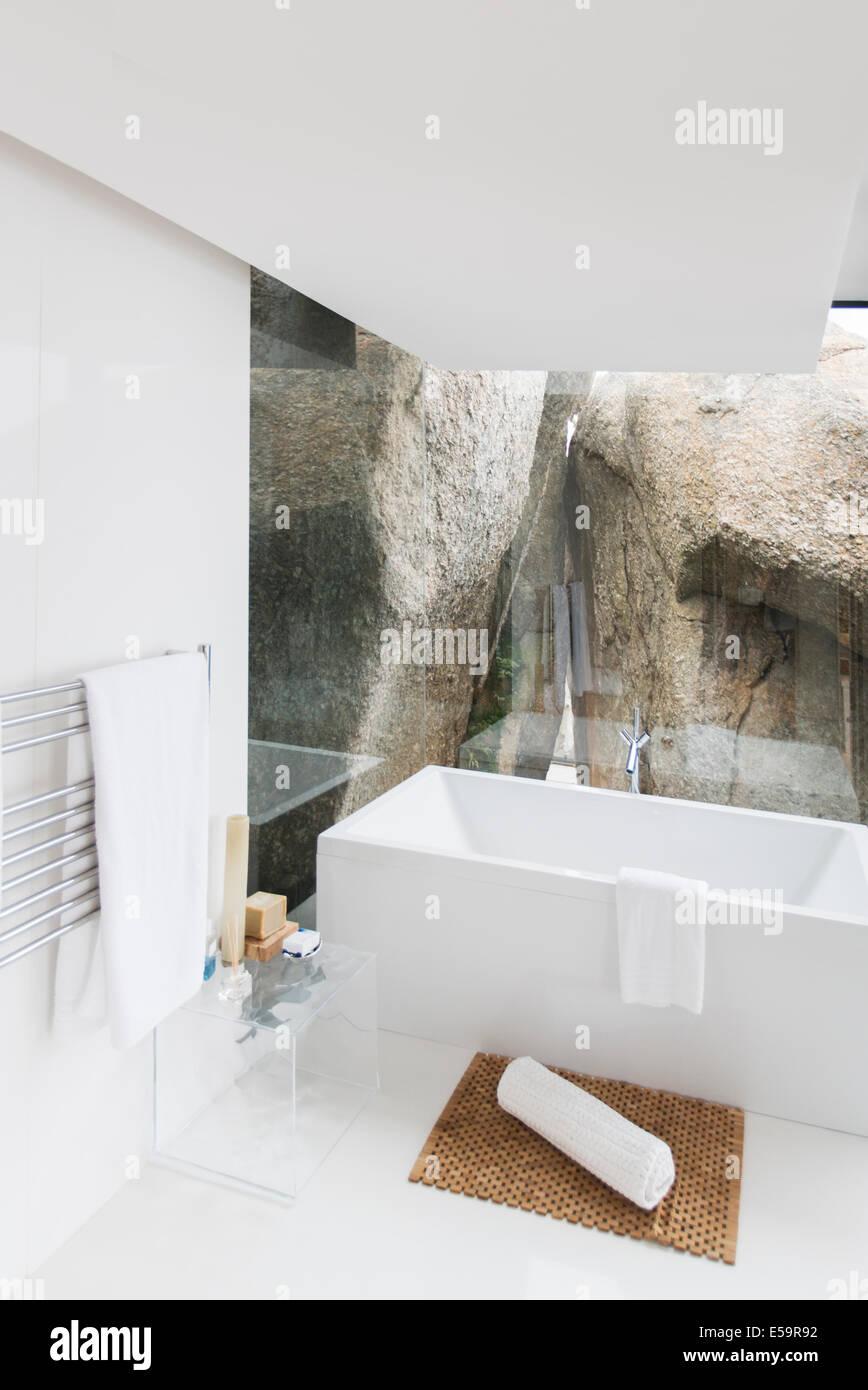 Bathtub And Rock Feature Of Modern Bathroom
