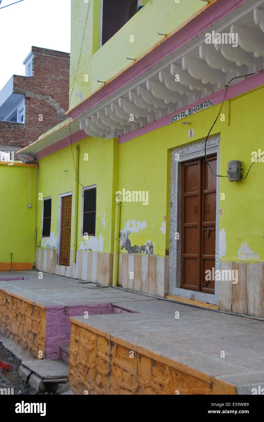 India Rajasthan Modern Village House Painted Lime Green