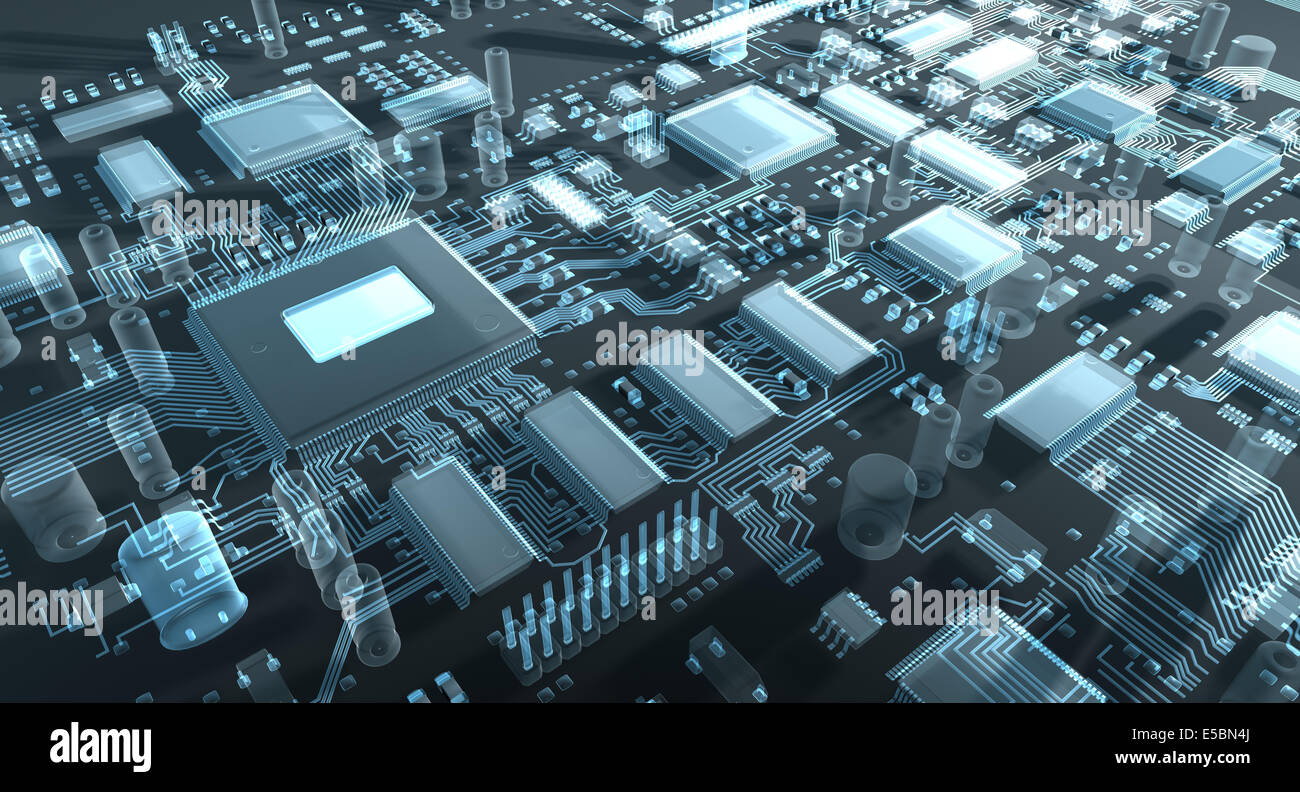 Motherboard Circuit Illustration: Fantasy Circuit Board Or Motherboard Or Mainboard. 3d