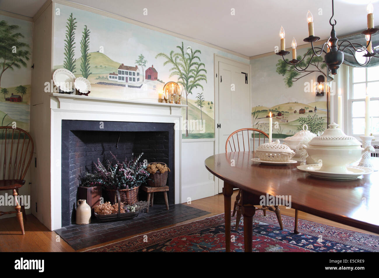 Dining Room With Wall Mural Of Trees And Countryside In Folk Art Style.  Fireplace Containing Part 57