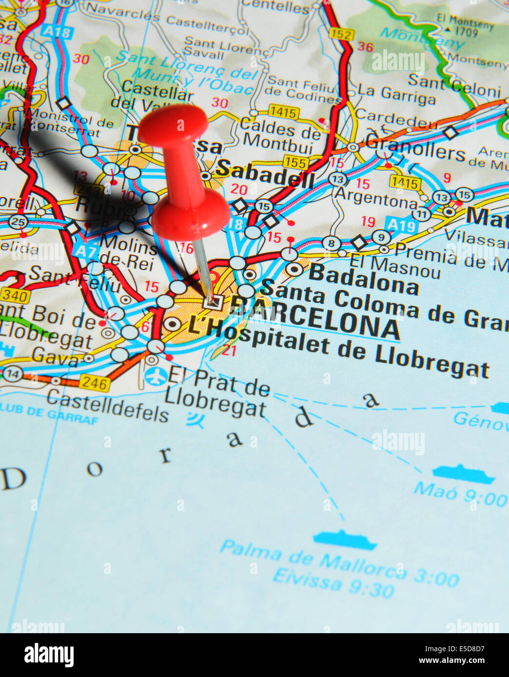 barcelona on map stock photo royalty free image alamy