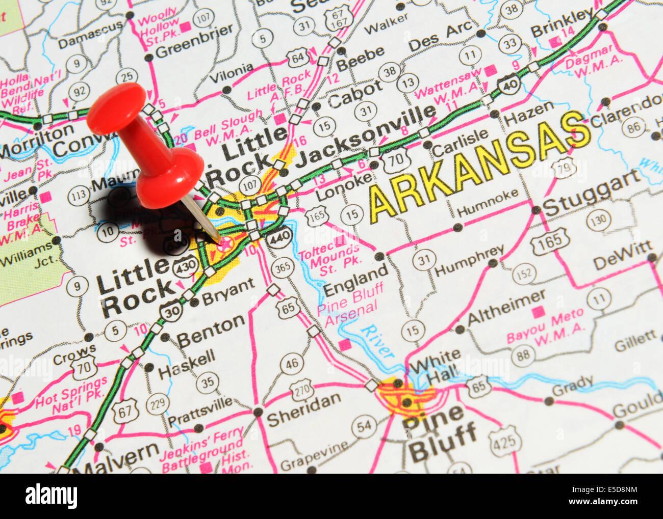 Arkansas Little Rock On US Map Stock Photo Royalty Free Image - Little rock arkansas on us map