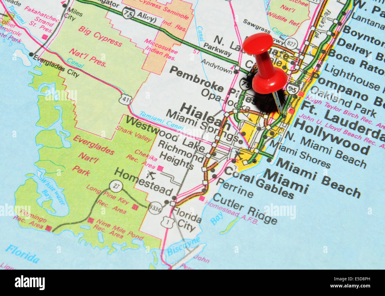 Hollywood On US Map Stock Photo Royalty Free Image Alamy - Miami on us map