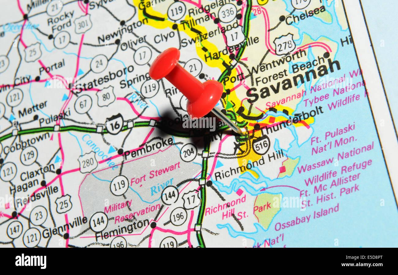 Savannah On Us Map Stock Photo Royalty Free Image Alamy Savannah On Us Map