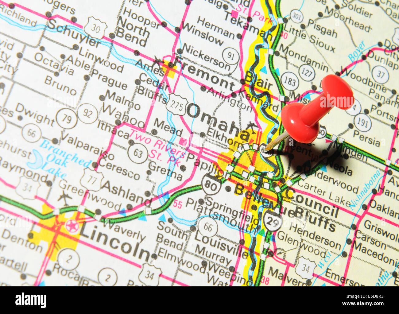 Omaha On US Map Stock Photo Royalty Free Image Alamy - Omaha us map