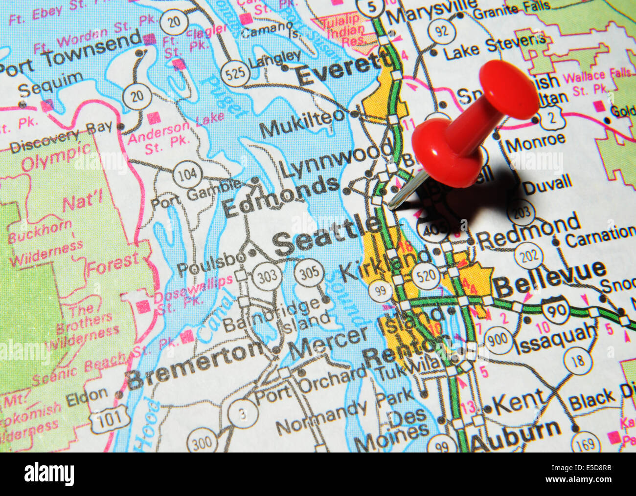Seattle On US Map Stock Photo Royalty Free Image Alamy - Seattle on us map