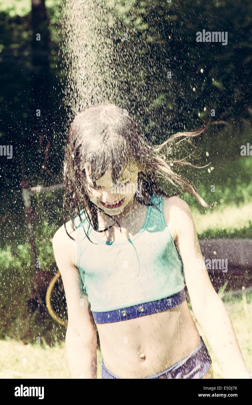 girl taking a shower