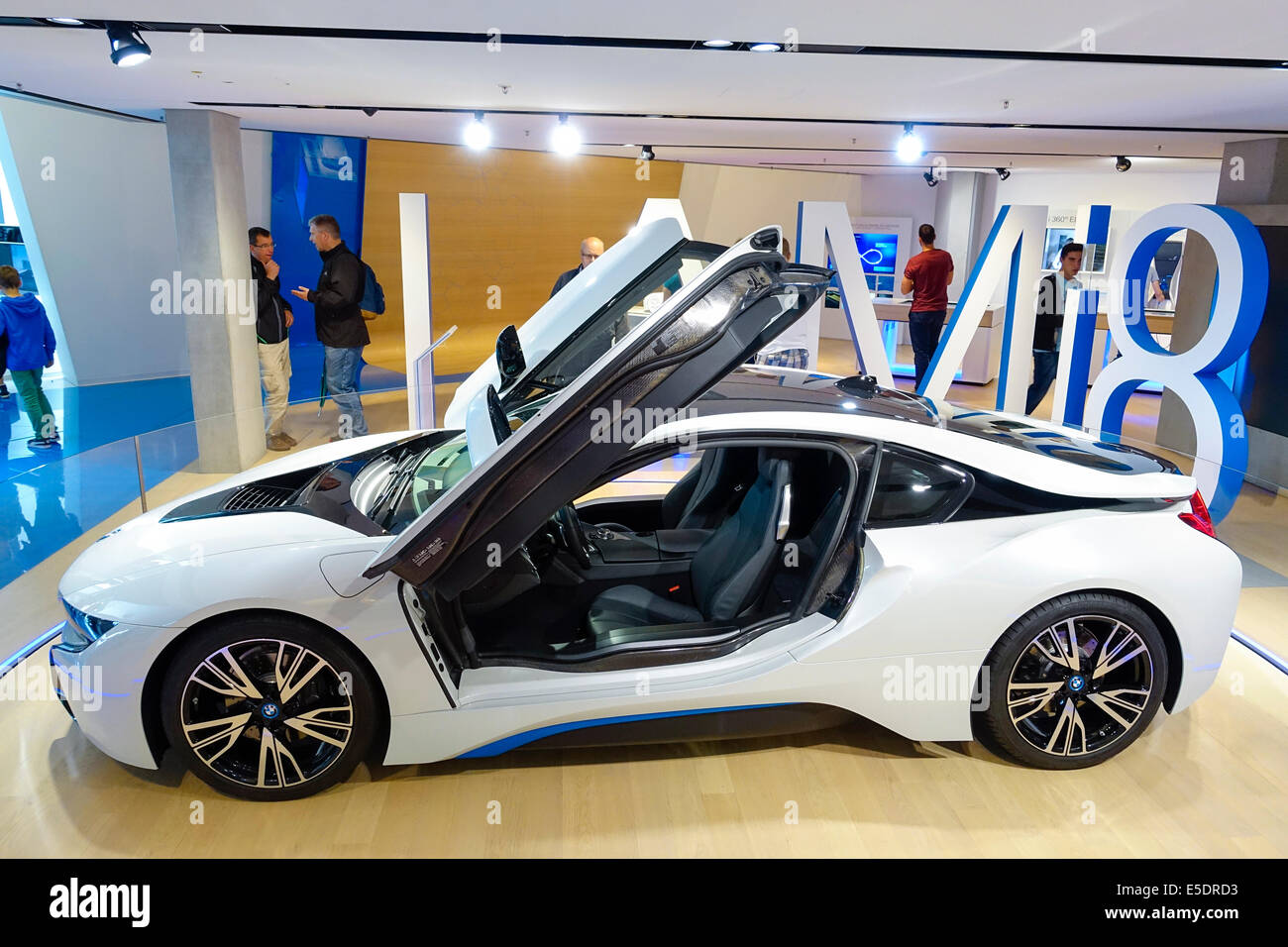 modern luxury sports car with plug in hybrid system bmw i8 stock photo royalty free image. Black Bedroom Furniture Sets. Home Design Ideas