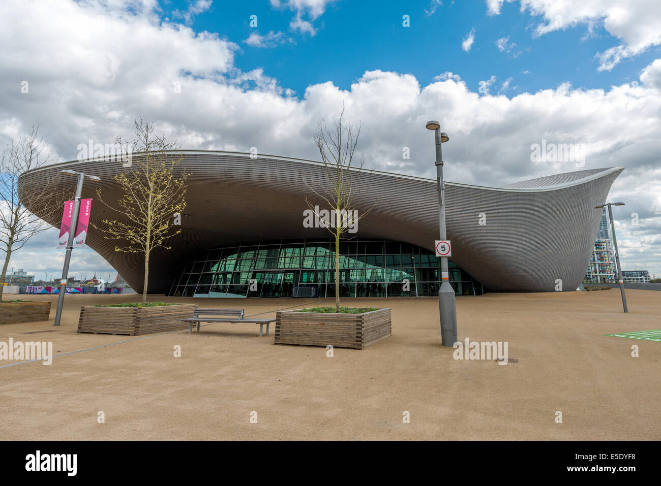 The London Aquatics Centre Is An Indoor Facility With Two Swimming Stock Photo Royalty Free