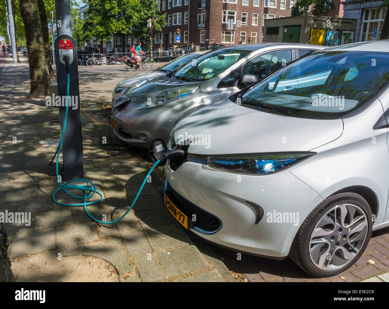 Amsterdam Holland The Netherlands Parked Electric Cars Stock