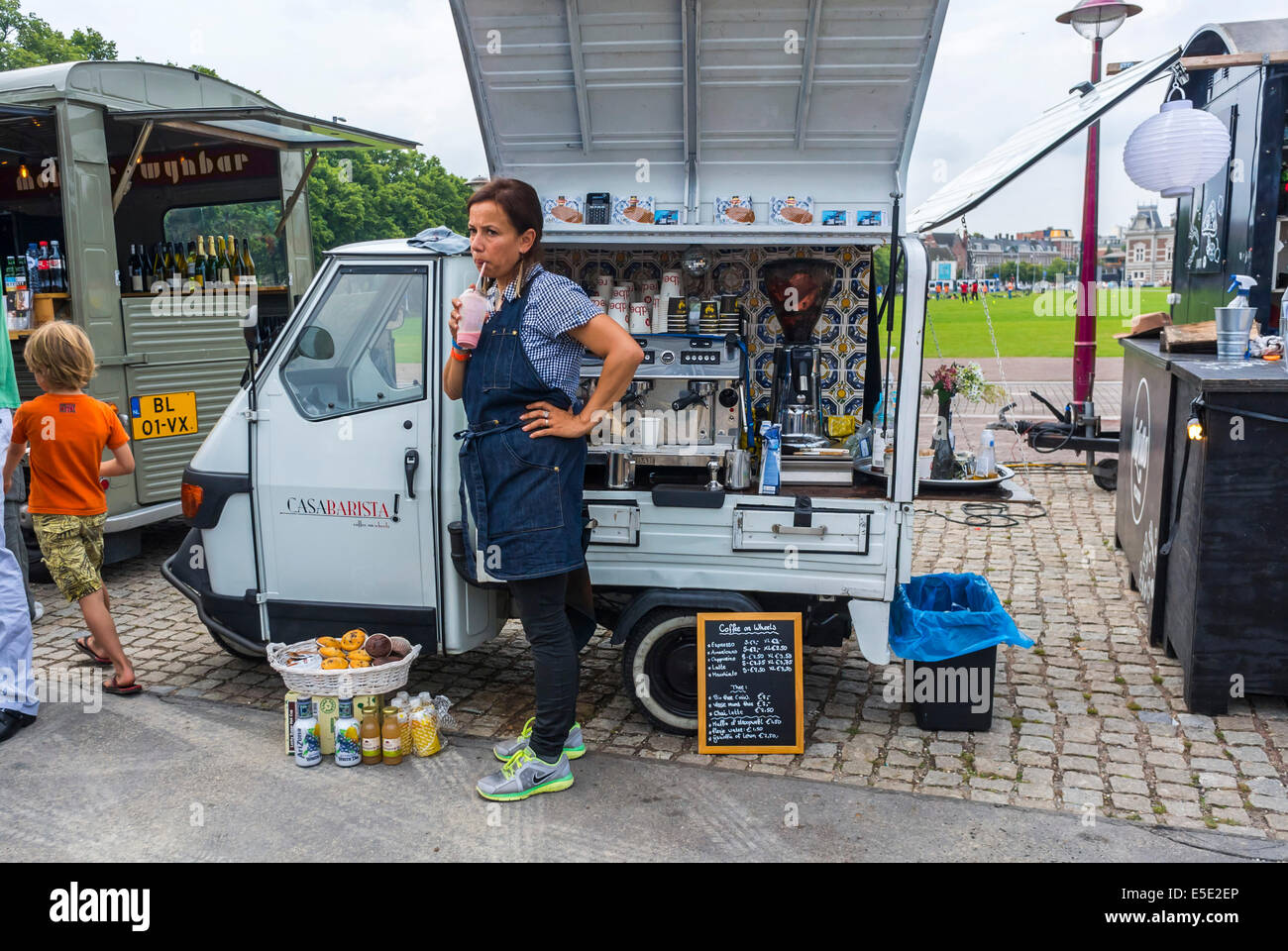 Amsterdam Holland Outside The Netherlands Women Selling Drinks Espresso Coffee From Small Food Truck Street Vendor