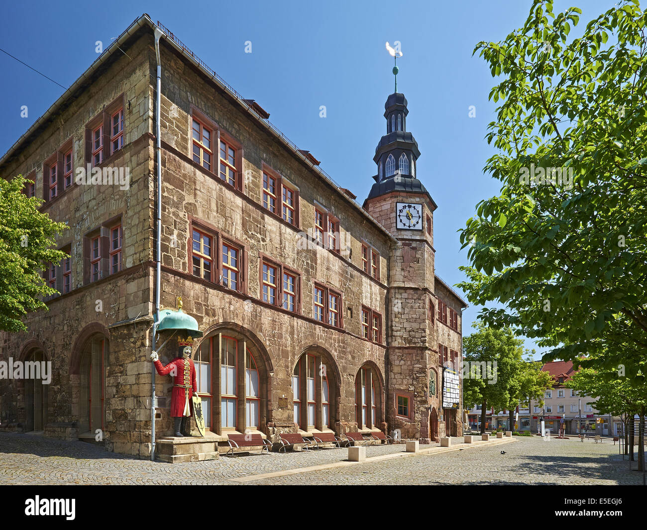 Nordhausen Germany  city photos gallery : Town Hall With Roland Figure In Nordhausen, Germany Stock Photo ...