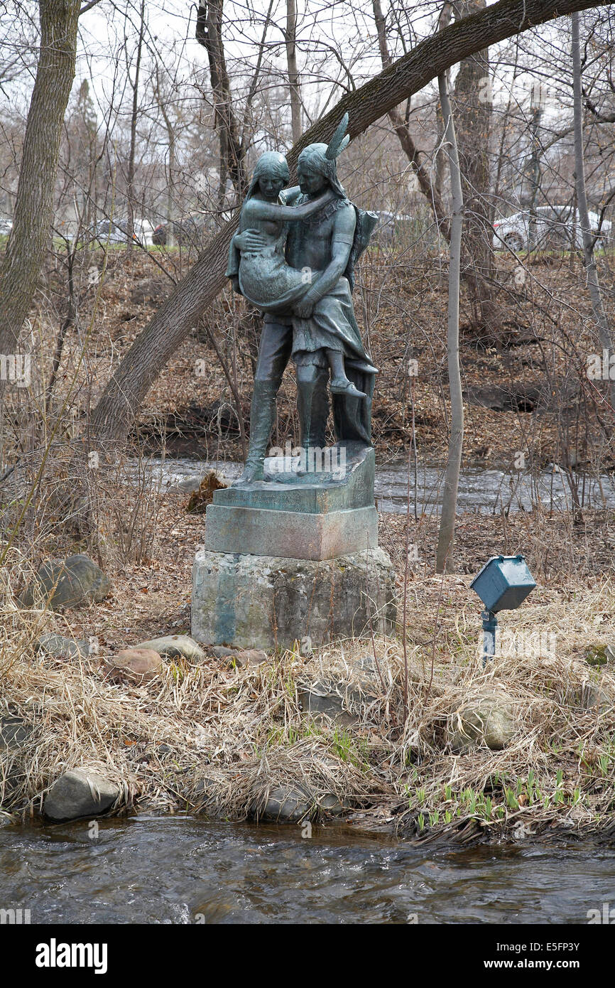 hiawatha and minnehaha stock photos hiawatha and minnehaha stock a statue by jakob fjelde of hiawatha carrying minnehaha across minnehaha creek minnehaha park minneapolis minnesota