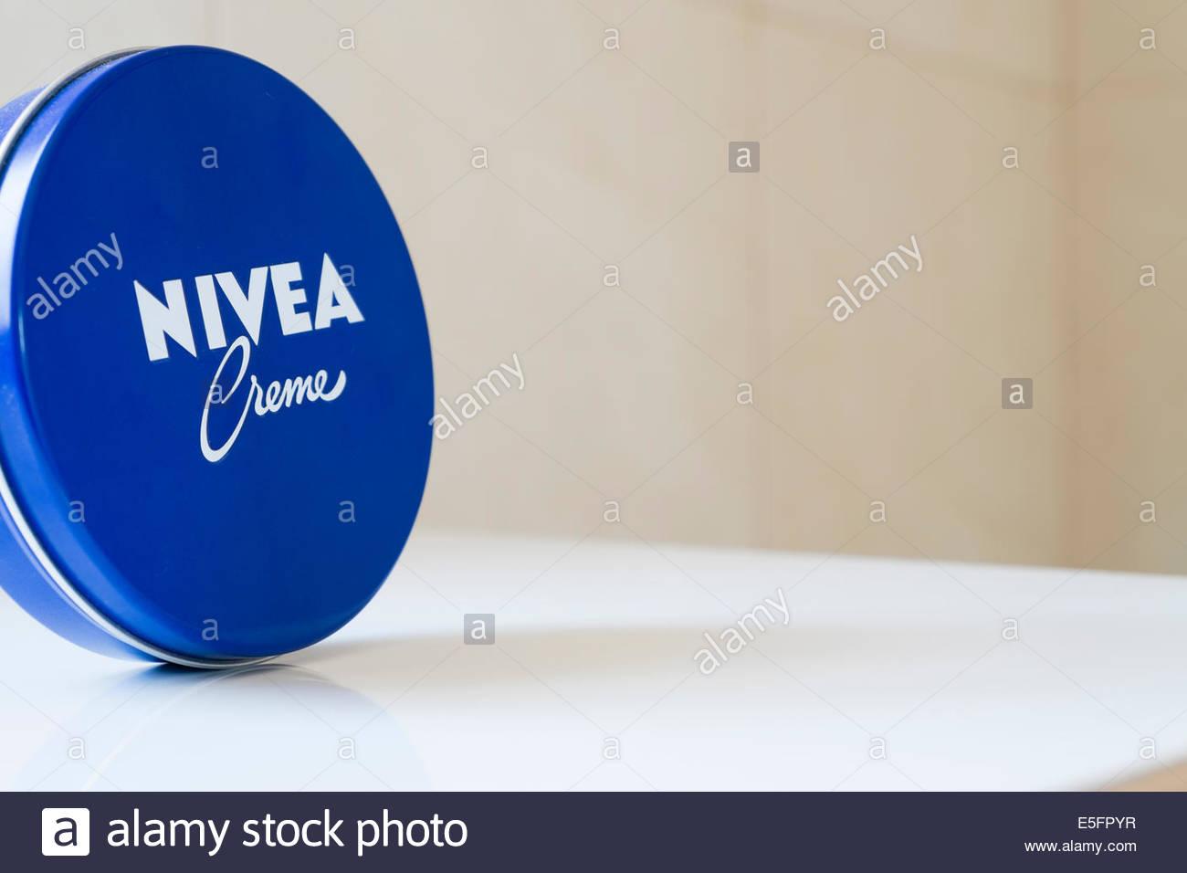 Stock Photo - A distinctive blue tin of Nivea Creme