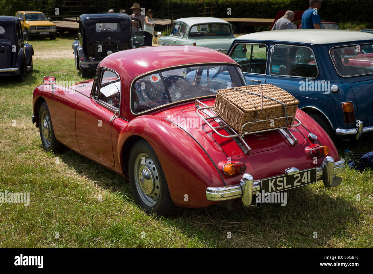 Rear of MGA sportw car showing picnic basket secured to a ...