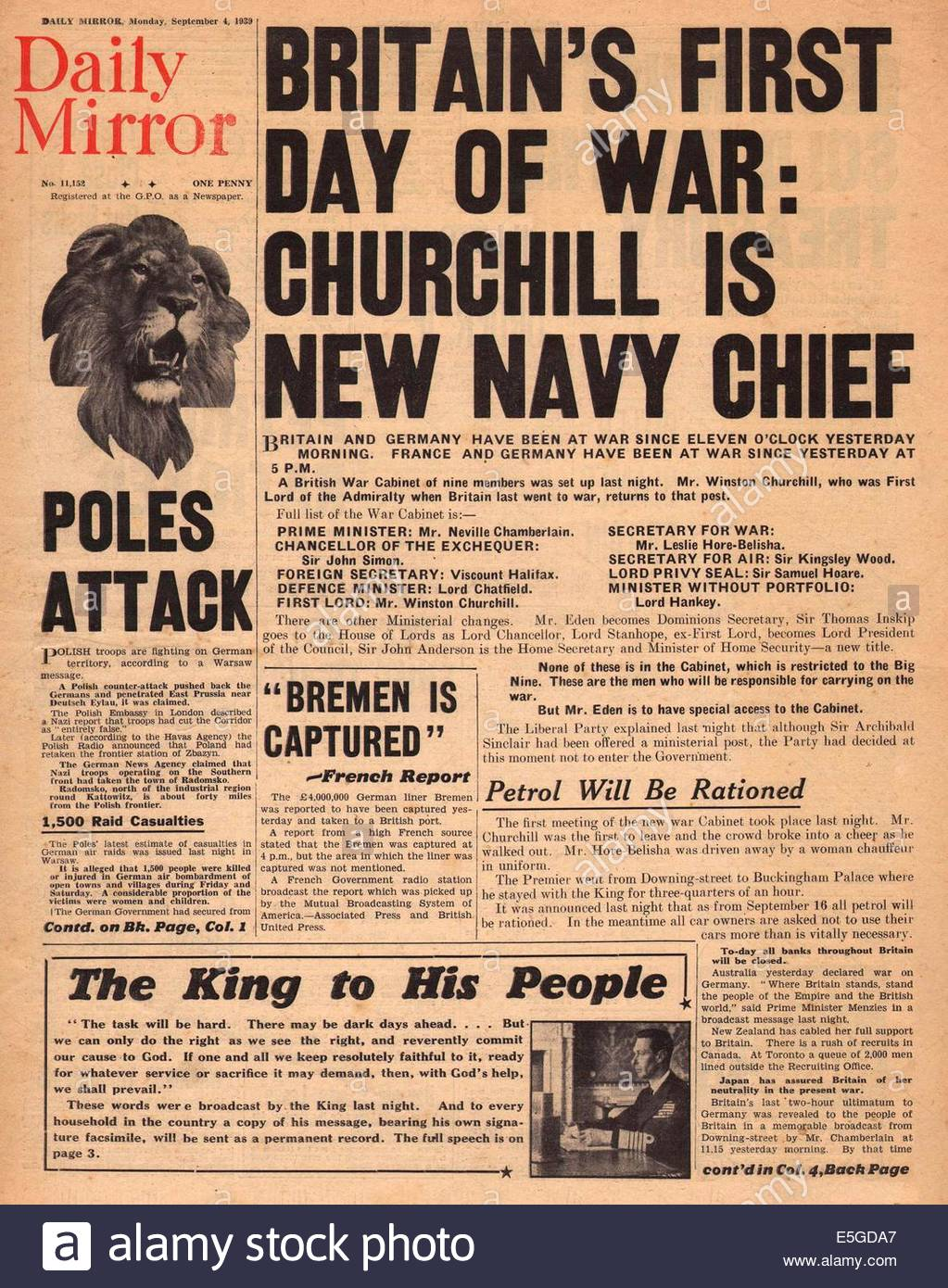 the details of the battle of britain in 1939 During the second world war, a king was on the british throne  when war  broke out in 3rd september 1939 king george vi was three years into his reign.