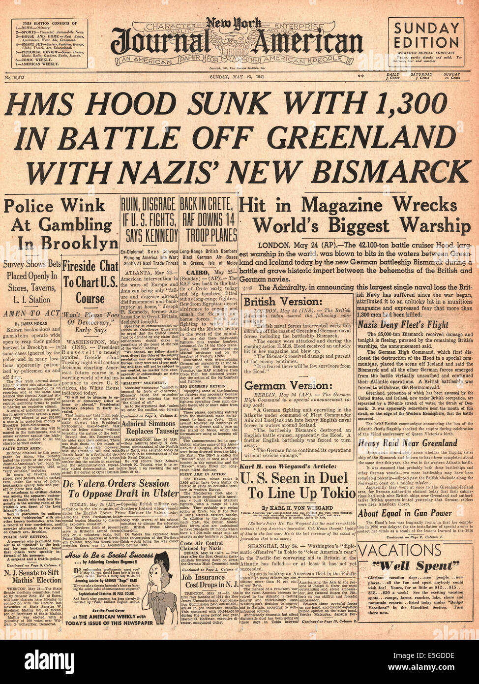 1941 New York Journal American Usa Front Page Reporting