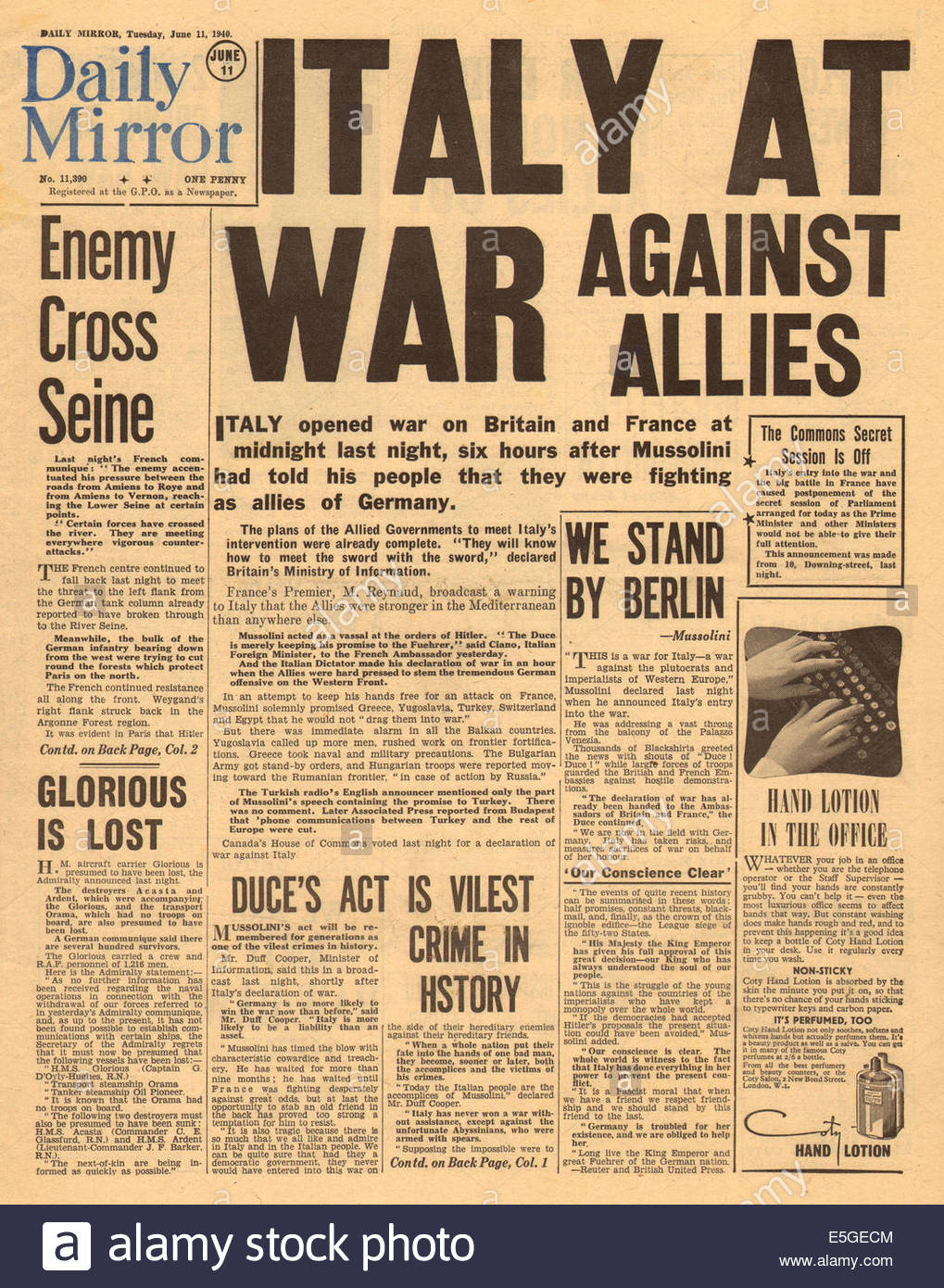 1940 daily mirror front page reporting italy declares war on
