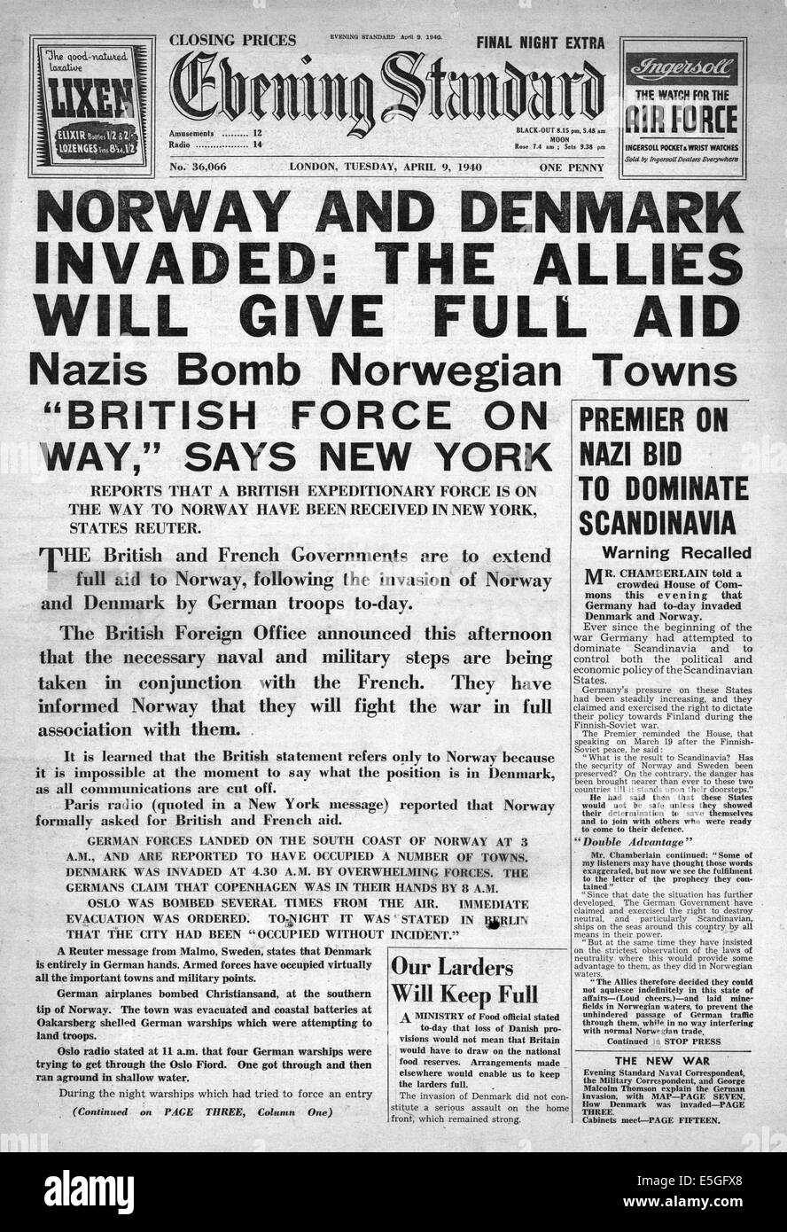 http://c8.alamy.com/comp/E5GFX8/1940-evening-standard-london-front-page-reporting-germany-invades-E5GFX8.jpg
