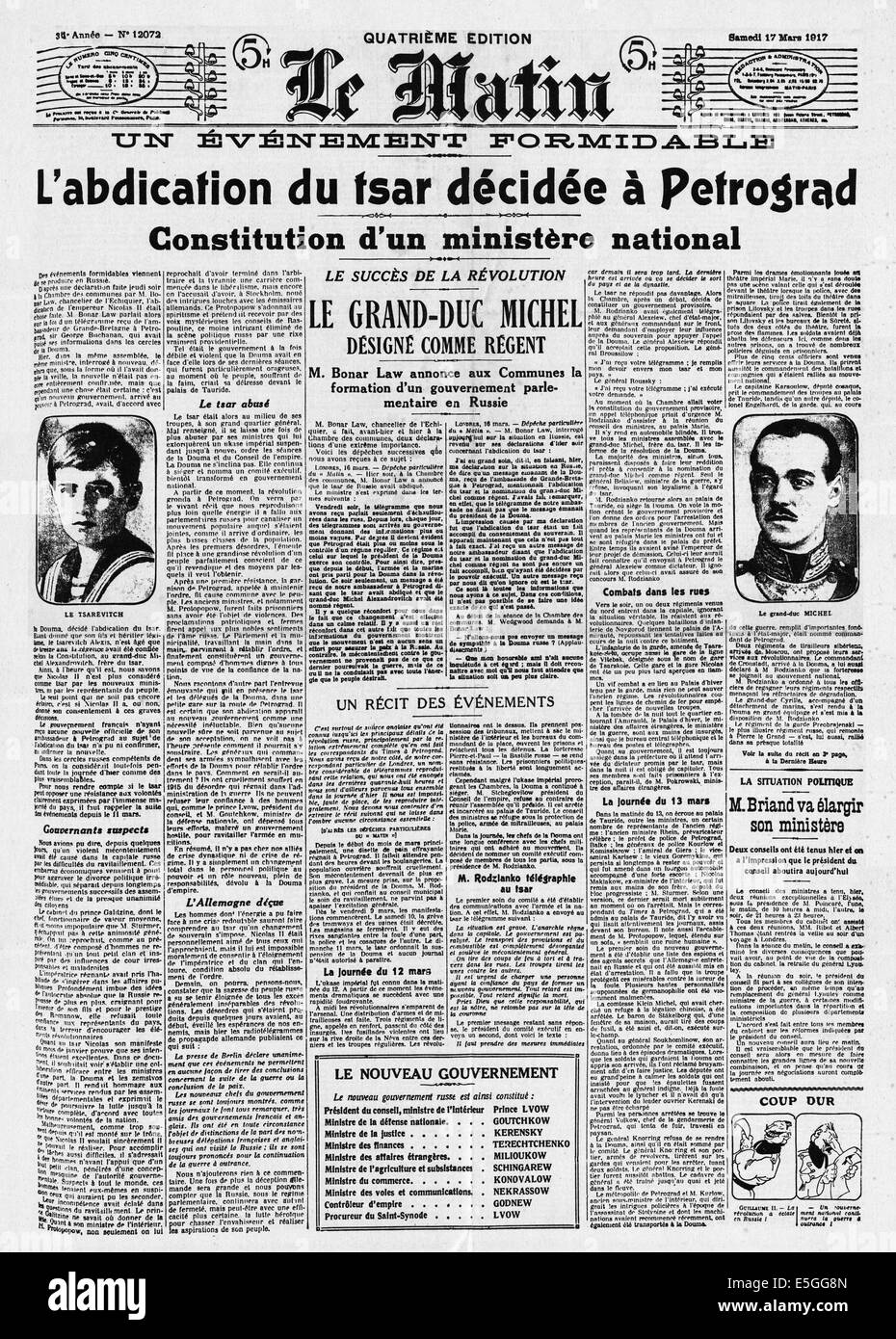 1917 le matin france front page reporting the abdication of czar