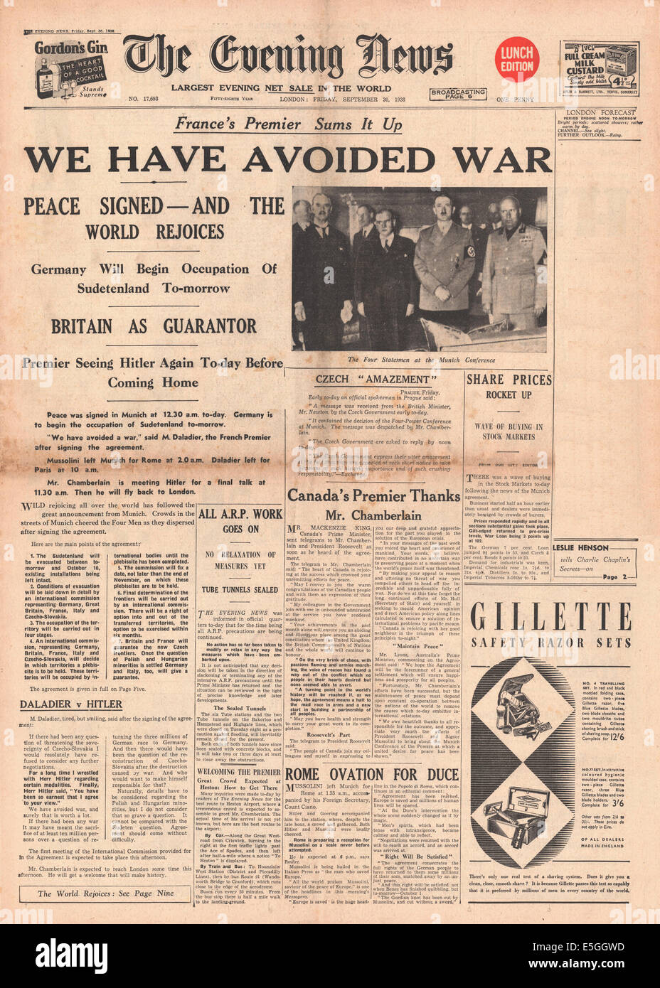 1938 evening news london front page reporting the signing of the 1938 evening news london front page reporting the signing of the munich peace agreement platinumwayz