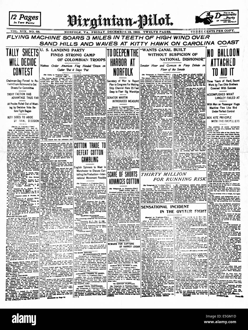 First Flight Kitty Hawk 1903 inside 1903 virginian pilot front page reporting the first flightthe