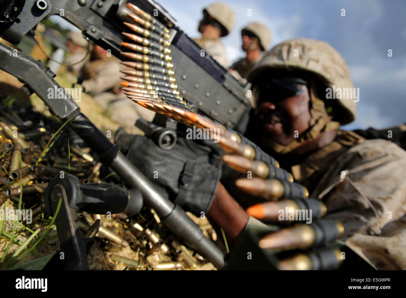 U.S. Marine Corps Pvt. James Jamison, a machine gunner with the ...
