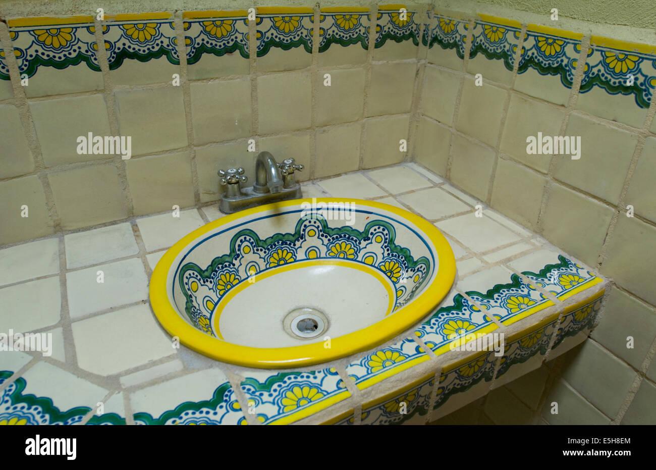 Mexican sinks bathroom - Talavera Pottery Tiles And Sink In A Mexican Bathroom Puebla Mexico