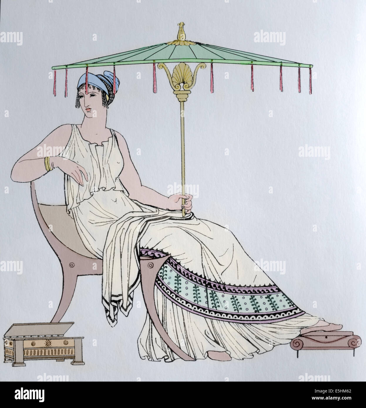 Ancient Greece Female Costume Engraving 19th Century Color Antique Greece To Color
