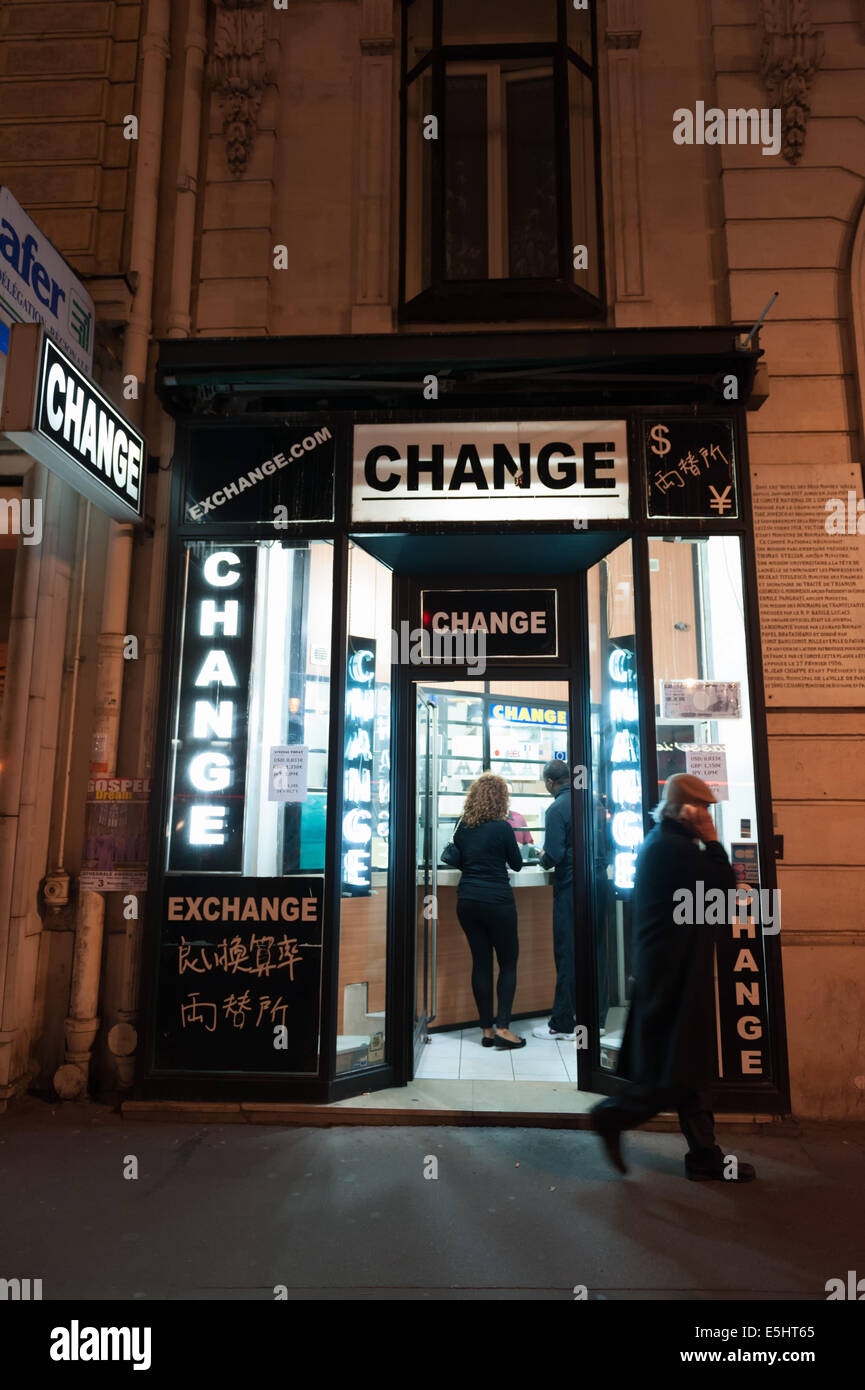 Paris France Th Oct  Illuminated Bureau De Change Money Exchange At Night