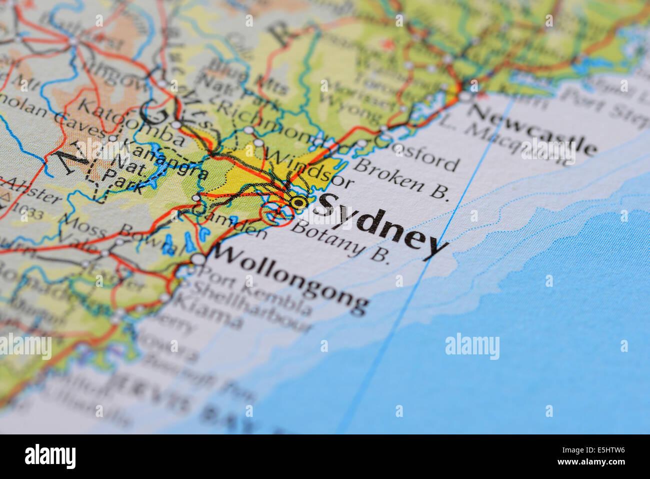Atlas Map Showing Australian City Of Sydney In New South Wales - South wales australia map