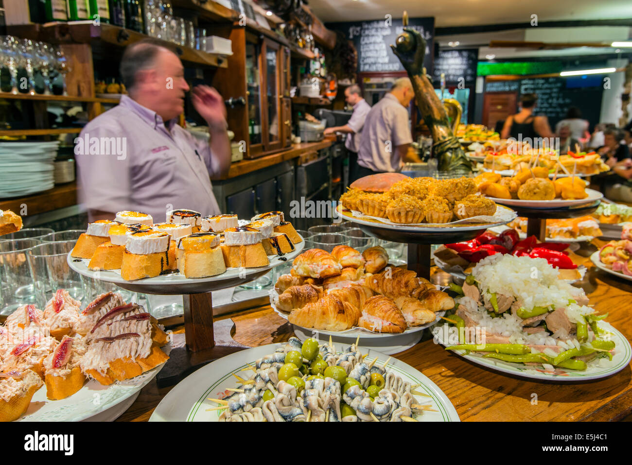 pinchos or pintxos served in a bar of donostia san sebastian stock photo royalty free image. Black Bedroom Furniture Sets. Home Design Ideas