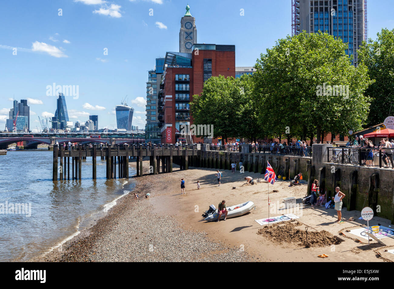 urban london beach on the south bank of the river thames