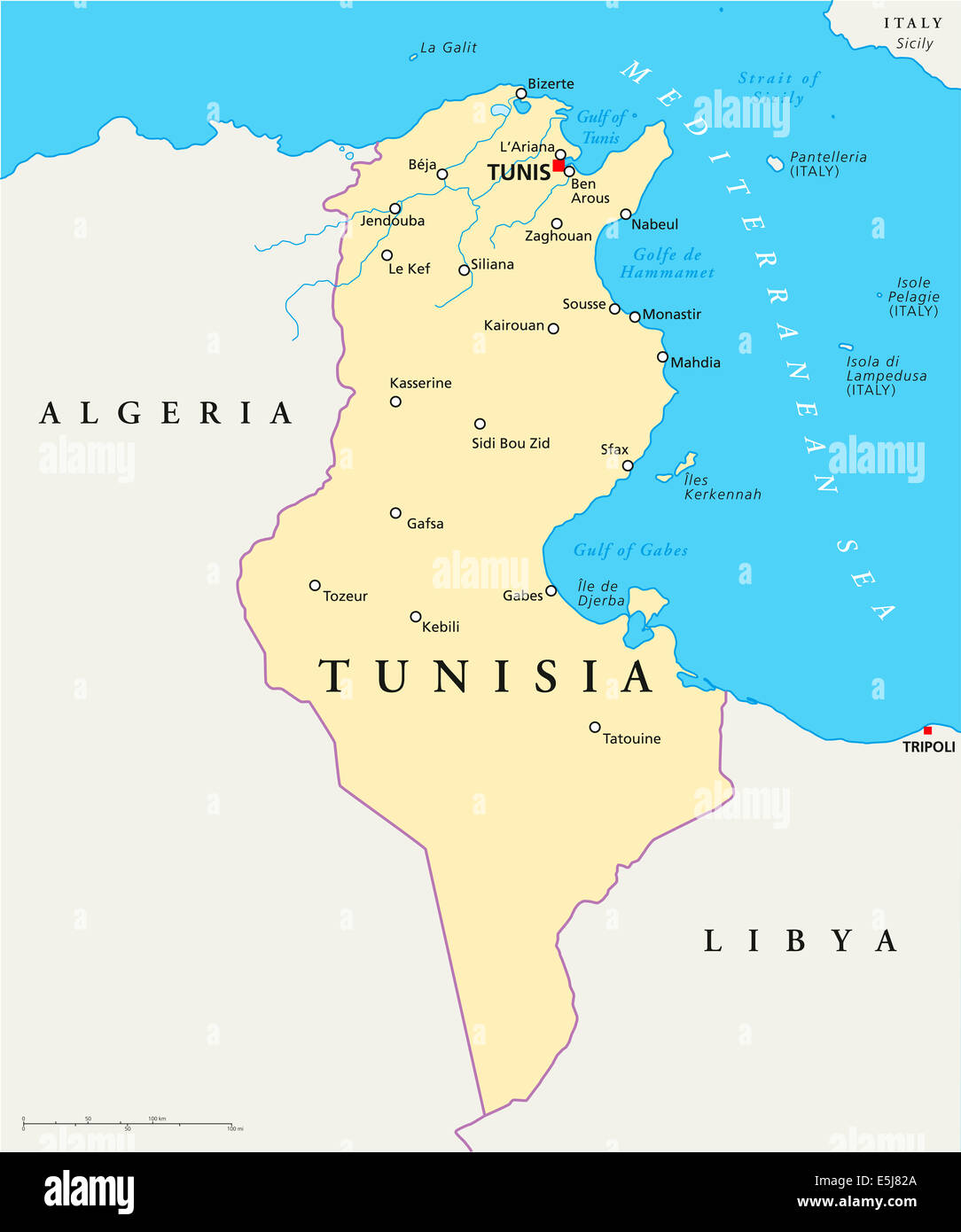 Tunisia Political Map With Capital Tunis National Borders Most - Map of tunisia